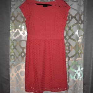 Coral Laundry Eyelet A-line Dress